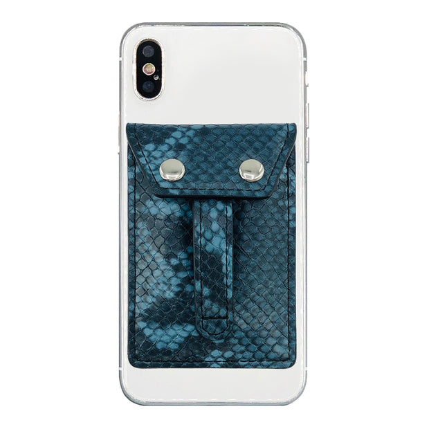 Wallet Phone Grip - BLUE PYTHON