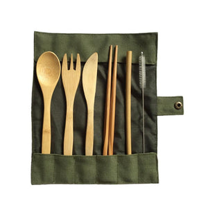 Bamboo Travel Cutlery Set w/ Cloth Bag