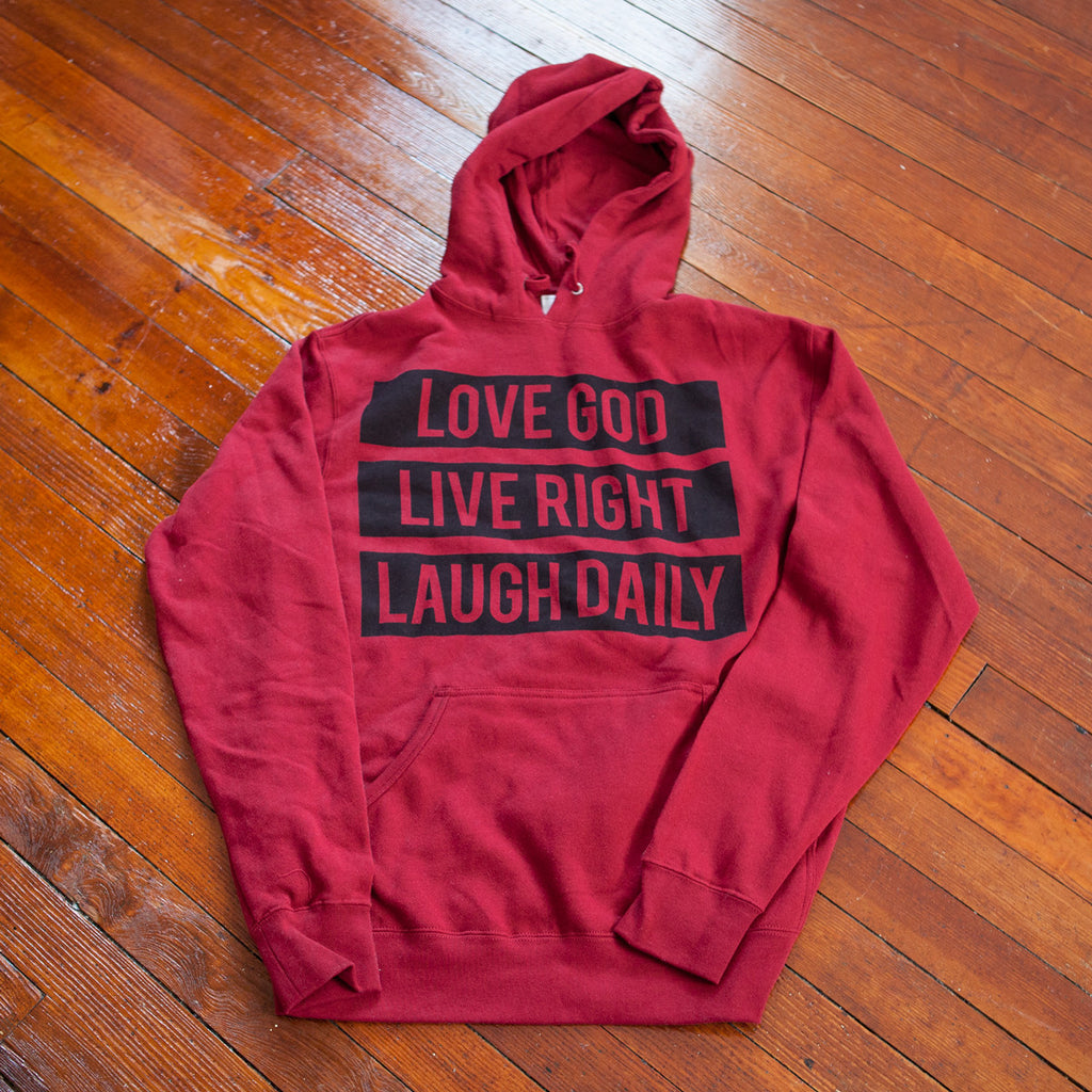 Love God Live Right Laugh Daily Cardinal Red Sweater