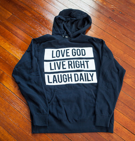 Love God Live Right Laugh Daily Navy Unisex Sweater