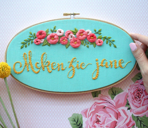 Personalized Embroidery Hoop Art, Baby Nursery Decor