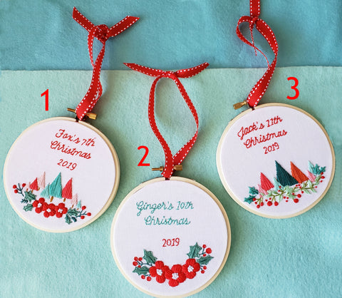 "CUSTOMIZEABLE ""Baby's First Christmas"" Embroidery Hoop Ornament, Pastel Christmas Ornament"