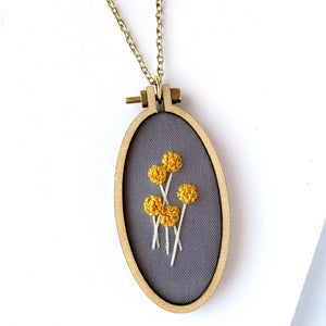 Flower Bouquet Embroidery Hoop Necklace