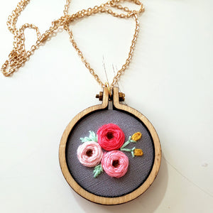 Trio of Roses Embroidered Necklace
