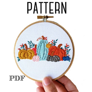 Fall Pumpkins Digital PDF Embroidery Pattern