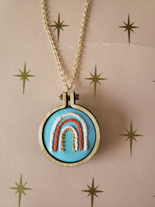 Modern Rainbow Embroidered Necklace
