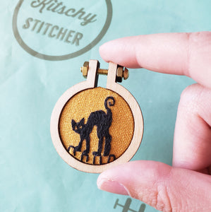 Black Cat Halloween Embroidery Kit