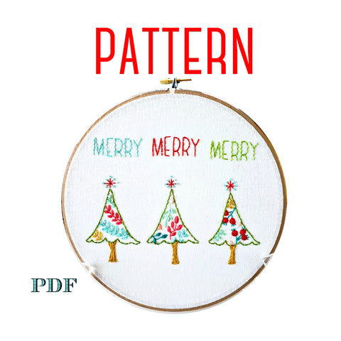 Merry Trees Christmas Embroidery Pattern