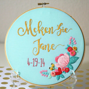 Customizable Baby Name Floral Embroidery Hoop Art