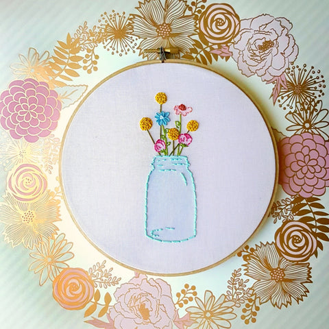Mason Jar Embroidery Hoop Art>Mason Jar Decor>Embroidery Hoop>Floral Embroidery>Gift Idea>Rustic Home Decor>Circle Frame Embroidery Design