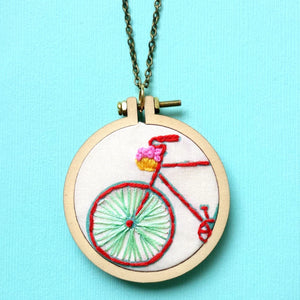 The Bike Necklace>Embroidered Jewelry>Handstitched Jewelry>Mini Hoop Necklace>Bicycle Necklace>Bike Charm>Embroidery Designs>Ride On>Gift