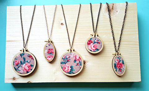Floral Embroidery Hoop Necklace, Handmade Necklace