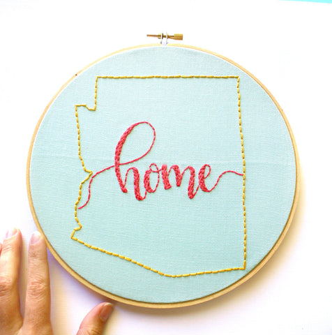 YOU CHOOSE Custom State Embroidery Hoop Art Home Sign,State Art