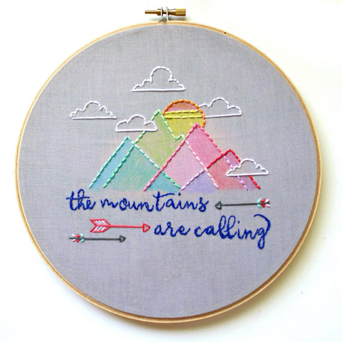 Aztec Mountains Embroidery Hoop Art>Nursery Decor>Hand Embroidered Hoop Art>Embroidery designs>Embroidery fonts>Modern nursery>Childs room