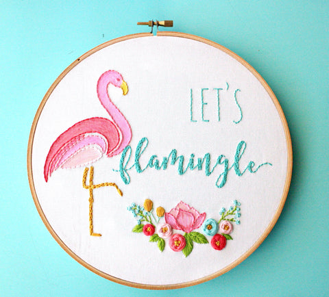 Let's Flamingle Embroidery Hoop Art, Flamingo Decor