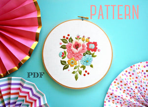 Floral Embroidery PATTERN, Vintage Inspired Embroidery Kit