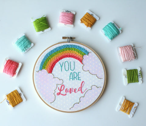 You Are Loved Embroidery Hoop Art,Rainbow Baby