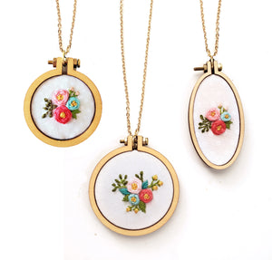 Floral Embroidery Necklace-3 SIZES!,Handmade Necklace