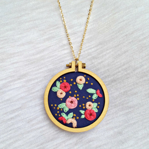 Rifle Paper Co Inspired Embroidery Necklace,Flower Necklace