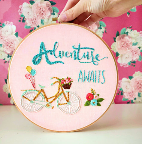 Adventure Awaits, Bike Embroidery Design