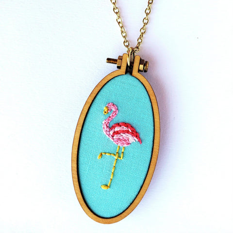 Pink Flamingo Necklace>Embroidered Jewelry>Flamingo Jewelry>Embroidery Hoop Necklace>Gift for Her>Anniversary Gift>Beach Jewelry