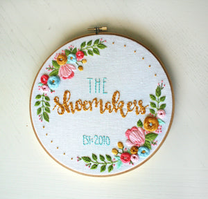 CUSTOMIZABLE Established Sign, Embroidery Hoop Art