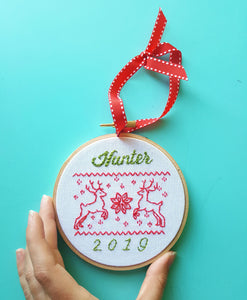 Embroidered Name Christmas Ornament,Baby's First Christmas