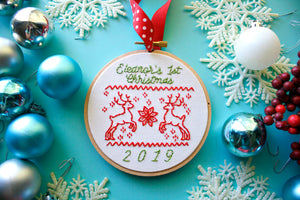CUSTOMIZEABLE Baby's First Christmas Ornament,Christmas Sweater Design