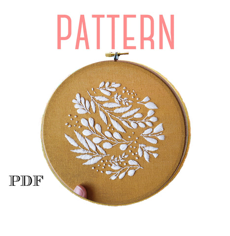 Leaves Embroidery Pattern,Mustard Yellow Decor