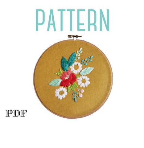 Floral Cluster on Yellow, Embroidery PATTERN