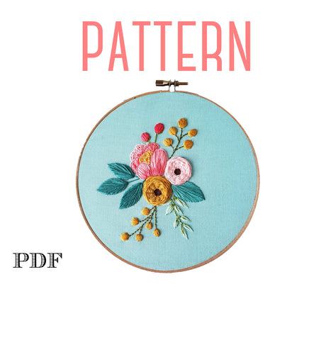 Peony Cluster Embroidery Pattern,Floral Embroidery Design