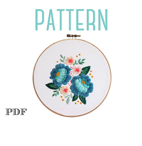 Blue Floral Roses Embroidery PATTERN, Vintage Inspired Embroidery