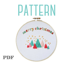 Colorful Merry Christmas Embroidery Pattern,Handmade Christmas Decorations