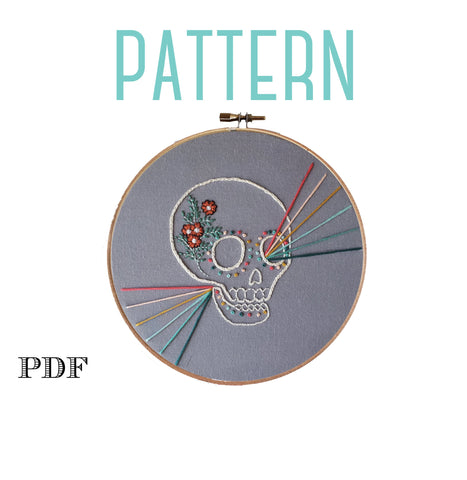Rainbow Skeleton Halloween Embroidery Pattern. Digital PDF Pattern, Sugar Skull Halloween Decor