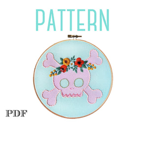 Halloween Embroidery Pattern. Digital PDF Pattern, Sugar Skull Halloween Decor