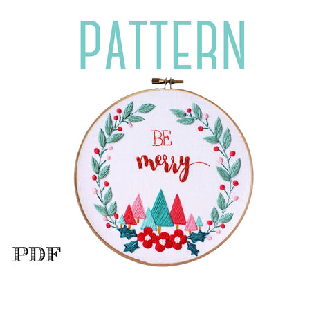 Be Merry,Christmas Embroidery Pattern