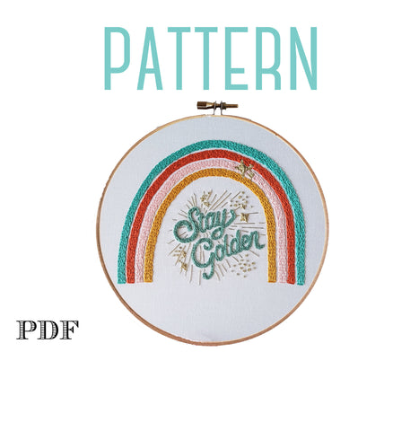 Rainbow Embroidery Pattern, Stay Golden, Instant Download PDF,Rainbow Baby, Embroidery Design, Modern Rainbow, Hand Embroidery