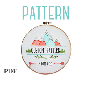 Digital Embroidery Pattern>Adventure is Out There>Mountains>Baby Boy Nursery>Hand Embroidery Pattern for Beginners>Printable Pattern