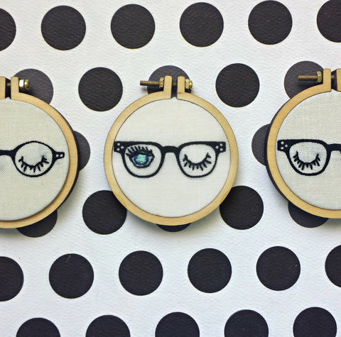 Hipster Glasses Necklace>Mini Hoop Necklace>Retro Funky Glasses>Hand Embroidered Jewelry>Winking Eye>Statement necklace>Pendant Charm