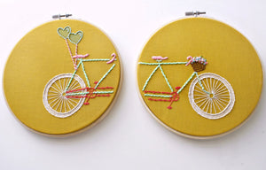 "Tandem Bicycle Embroidery Hoop Art in Mustard>Set of 2-6"" Hand Embroidered Bicycle>Embroidery Designs>Bike Basket>Gift Idea For Her>Bike Art"