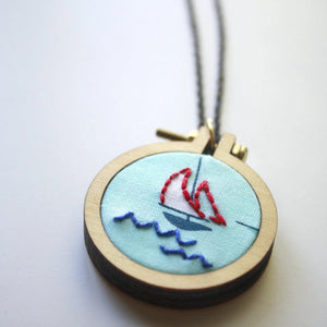 Sailboat Necklace>Nautical Jewelry>Sailing Gifts>Dainty Necklace>Hand Embroidered Jewelry>Gift For Her>Gift Idea>Dainty Jewelry>Sailboat Art