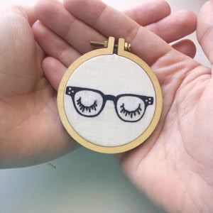 Vintage Retro Glasses Necklace>Embroidered Jewelry>Eyes Embroidery Designs>Mini Embroidery Hoop>Vintage Eyeglasses>Fabric Necklace>Gift Idea