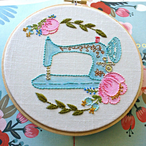 Singer Sewing Machine,Embroidery Hoop Art