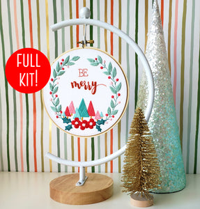 Be Merry Beginner Embroidery Kit for Christmas