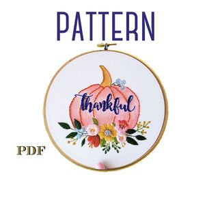 Thankful Pumpkin, Embroidery Digital Pattern, Thanksgiving Table Decorations