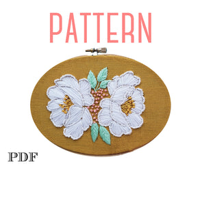 Double White Roses Embroidery Pattern