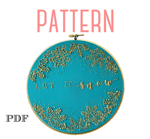 Let It Snow Hand Embroidery Pattern-Metallic Gold Edition!