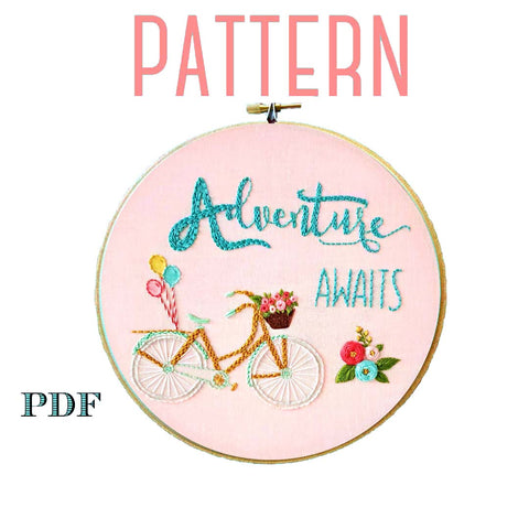 Adventure Awaits Floral Embroidery Pattern