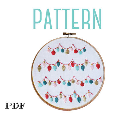 Colorful Christmas Ornaments-Digital PDF Embroidery Pattern
