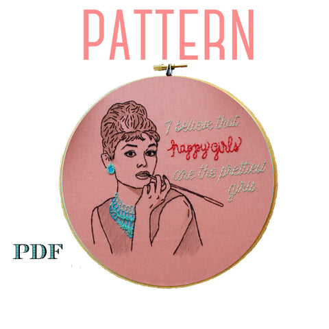Audrey Hepburn Embroidery Pattern